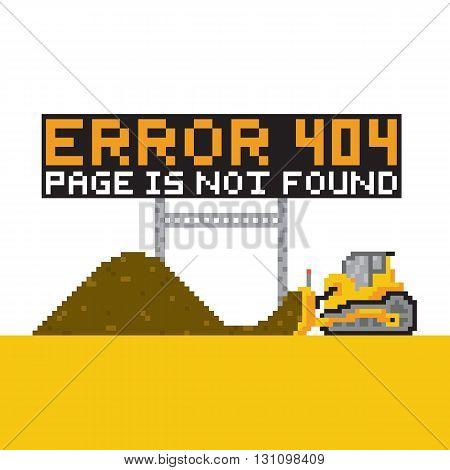 Pixel art style error 404 vector illustration