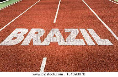 Brazil written on running track