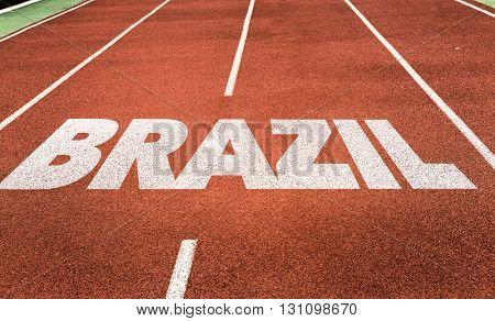 Brazil written on running track
