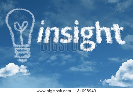 Insight cloud word with a blue sky