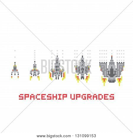 Pixel art style spaceship game upgrades vector pack