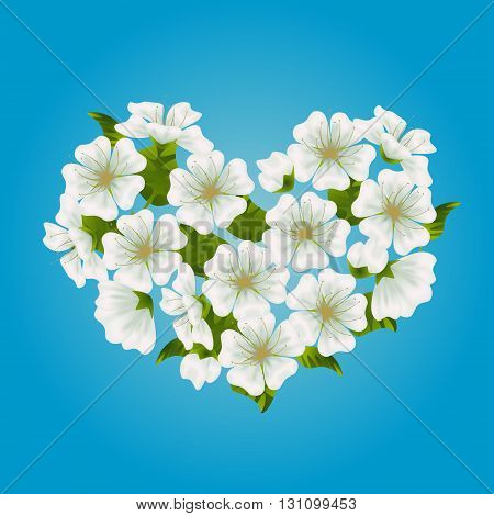 Vector blooming sakura cherry or apple tree heart on gradient blue background. Fresh spring romantic design for greeting wedding birthday card. Hanami festival