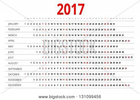 Calendar for 2017. Week Starts Sunday. Simple Vector design