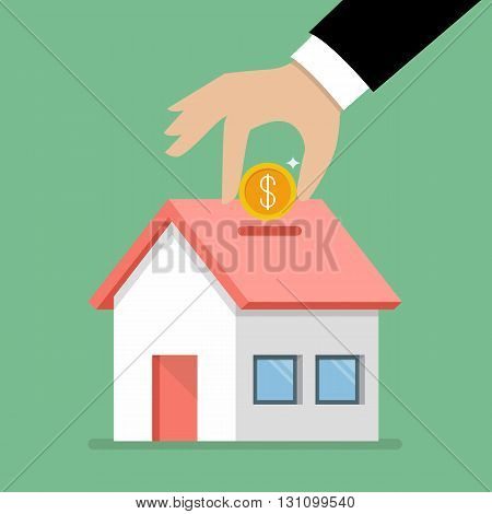 Hand collect the money in house piggy bank. flat style with long shadow