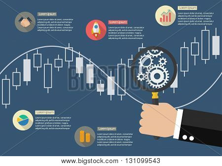 Hand holding magnifying glass with candle stick graph chart of stock market infographic. vector illustration