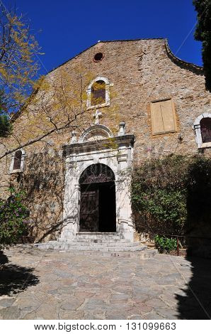 Bormes les Mimosas France - april 18 2016 : the picturesque old church in spring