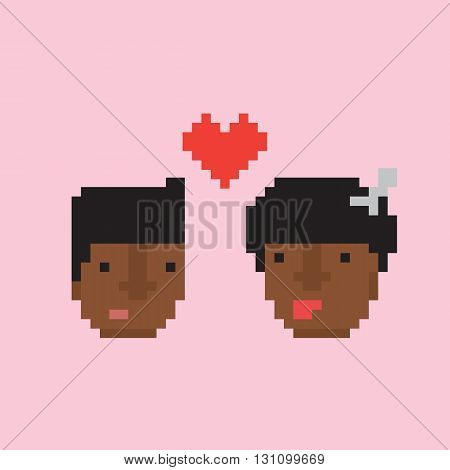 Pixel art style afro american couple in love vector