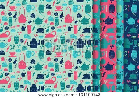 Vector seamless pattern set. Tea theme. Colored hand drawn cartoon tea objects. Blue and pink