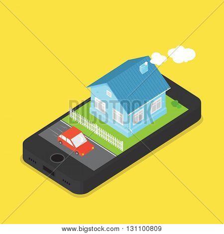 House and car on phone screen cartoon vector image