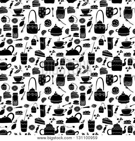 Vector seamless pattern. Tea theme. Black and white hand drawn cartoon tea objects.