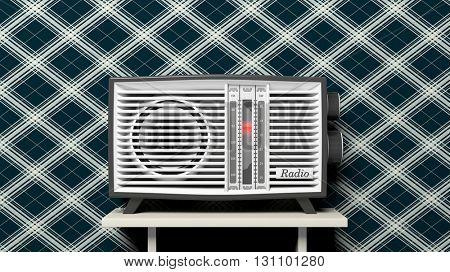 Antique radio transistor on table. 3D rendering