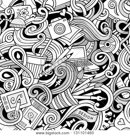 Cartoon hand-drawn doodles on the subject of Design and art theme seamless pattern. Line art detailed, with lots of objects vector background