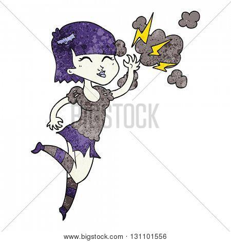 freehand textured cartoon vampire girl flying