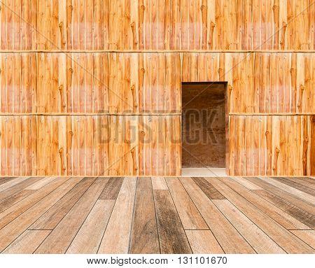 Wooden Wall With Door And Wood Floor In Front Off