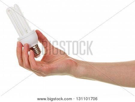 Energy-saving fluorescent lamp is in hand isolated on white background.
