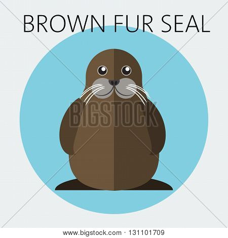 Abstract illustration with a walrus in a round blue frame over an white background. Digital vector image.