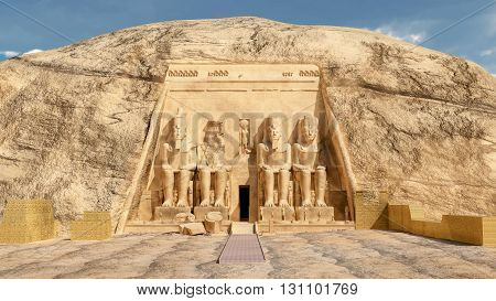 Computer generated 3D illustration with the great temple of Abu Simbel in Egypt