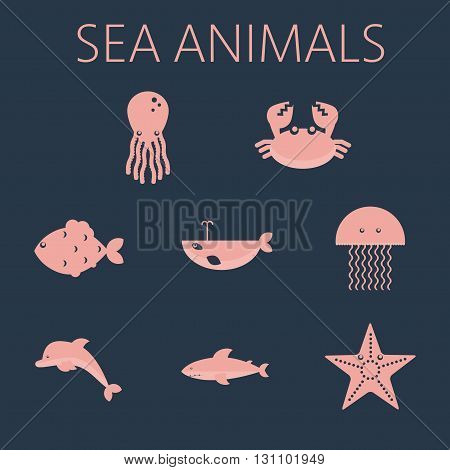 Pink sea animal set in outlines with octopus crab fish penguin shark whale jellyfish and starfish. Digital vector image.