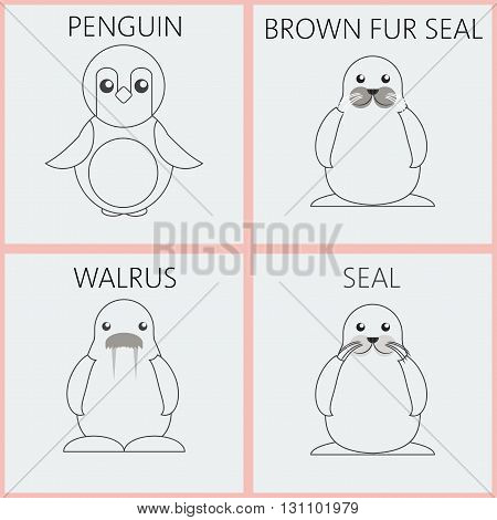 Abstract illustration with silver sea animals set in outlines a penguin walrus brown fur walrus and seal over a white background. Digital vector image.