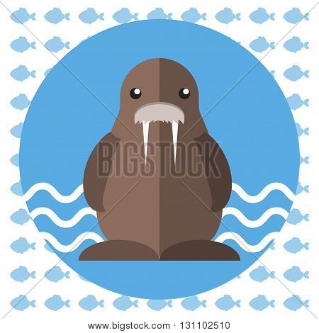 Abstract illustration with a brown walrus on blue water with waves in a round blue frame over an white background with fish. Digital vector image.