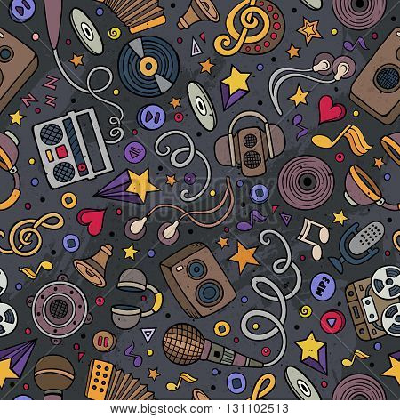 Cartoon hand-drawn musical instruments seamless pattern. Lots of music symbols, objects and elements. Perfect funny multicolored tile vector background.