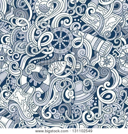 Cartoon hand-drawn nautical doodles seamless pattern. Detailed, with lots of objects vector background