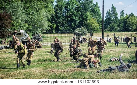 NITRA SLOVAK REPUBLIC - MAY 21: Reconstruction of the Second World War operations between Red and German army german soldiers gives up during the russian attack on May 21 2016 in Nitra Slovak Republic.