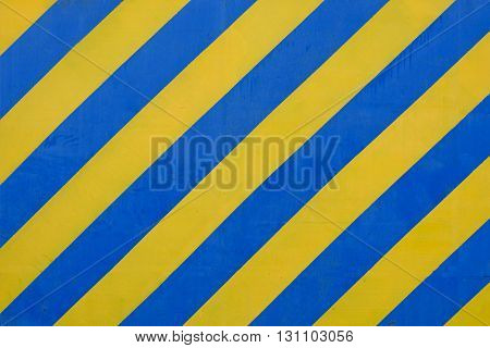 Grunge Blue and Yellow Surface as Warning or Danger Pattern Old Metal Textured