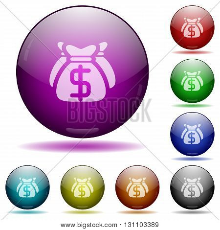 Set of color dollar money bags glass sphere buttons with shadows.