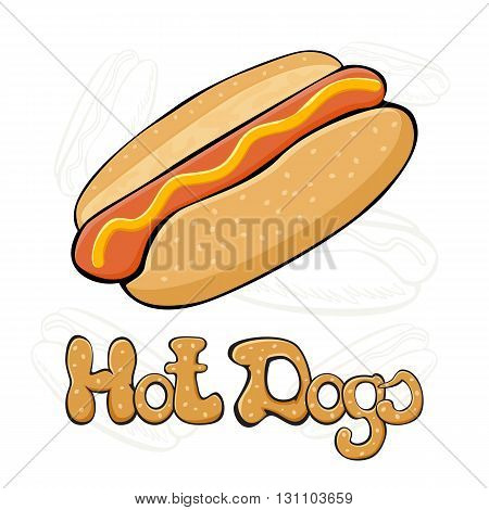 Hot dog with mustard on white background, fast food with sausage and bun, illustration.