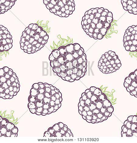 Seamless background with black ripe blackberries on white background, illustration.