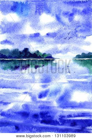 watercolor landscape with clouds, a lake and birds