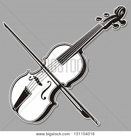 Black and white violin line art isolated on gray background.