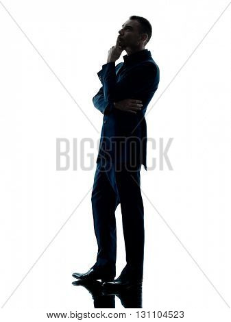 business man standing thinking isolated