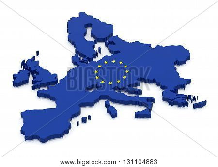 Map of Europe with flag color 3d illustration