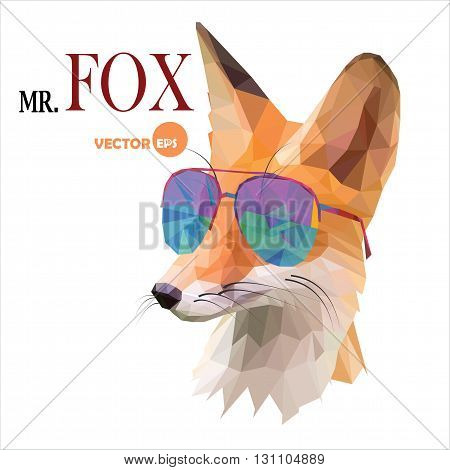 Fox man Mr. Fox in sunglasses urban city style hipster look fashion animal portrait close-up on the white background. Graphic in the low poly style for cartoons hero book cards funny art things