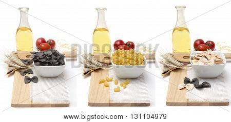 Products on the table food for cooking Italian noodles and pasta - a variety of cereals eggs olive oil fresh tomatoes on a wooden Board on a white background. Vegetarian and meatless.