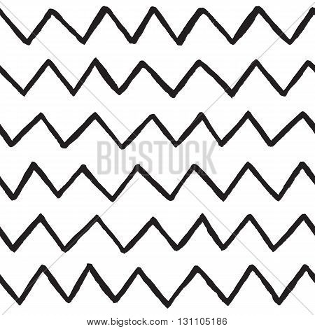 Abstract hand drawn zig zag lines seamless vector background white and black