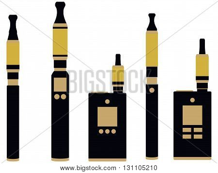 Electronic cigarette vector illustration. Various types vaporizers.