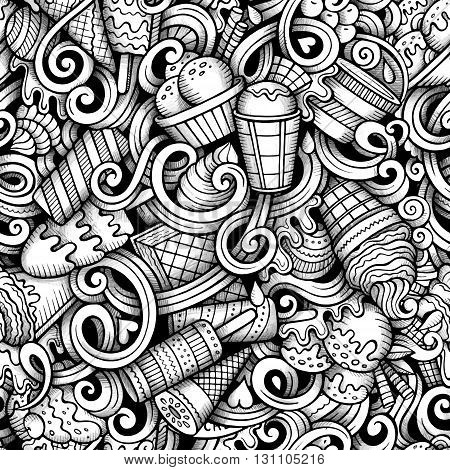 Cartoon hand-drawn doodles ice cream seamless pattern. Line art trace detailed, with lots of objects vector background