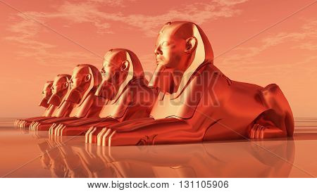 Computer generated 3D illustration with sphinxes, statues of a male lion
