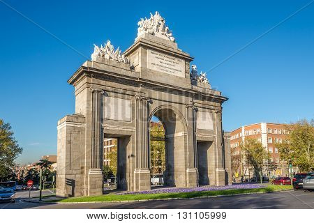 MADRID,SPAIN - APRIL 26,2016 - The Gate of Toledo (Puerta de Toledo) is a gate located in Madrid. Construction began in 1812 and was completed till 1827.