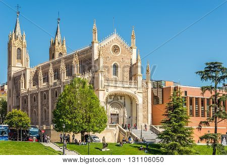 MADRID,SPAIN - APRIL 25,2016 - The Church of St. Jerome the Royal in Madrid. St.Jerome the Royal is a Roman Catholic church from the early 16th-century in central Madrid.