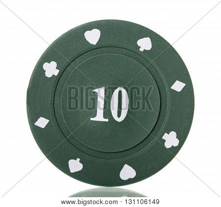 Green's poker chip isolated on a white background.