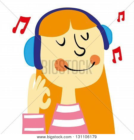 A young girl with ginger hair smiling and listening to music on a pair of headphones gives an okay sign with her hand