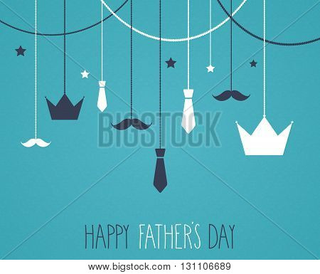 Fathers day blue poster. Hanging crown and tie. Vector illustration.