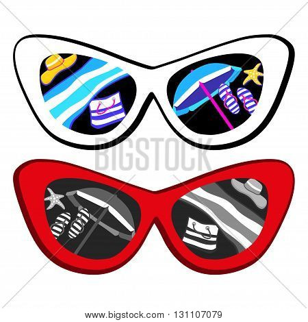 sunglasses with tropical island reflection on summer background.