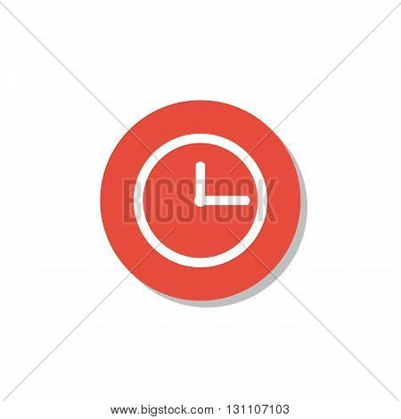 Clock Icon In Vector Format. Premium Quality Clock Symbol. Web Graphic Clock Sign On Red Circle Back