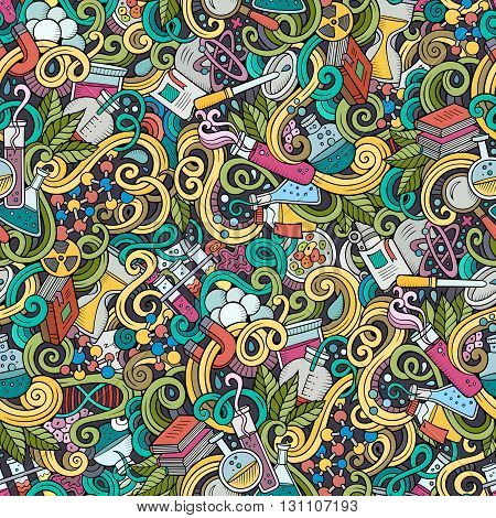 Cartoon hand-drawn science doodles seamless pattern. Detailed, with lots of objects vector background