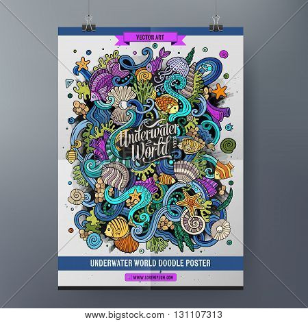 Doodles cartoon colorful Underwater world hand drawn illustration. Vector template poster design